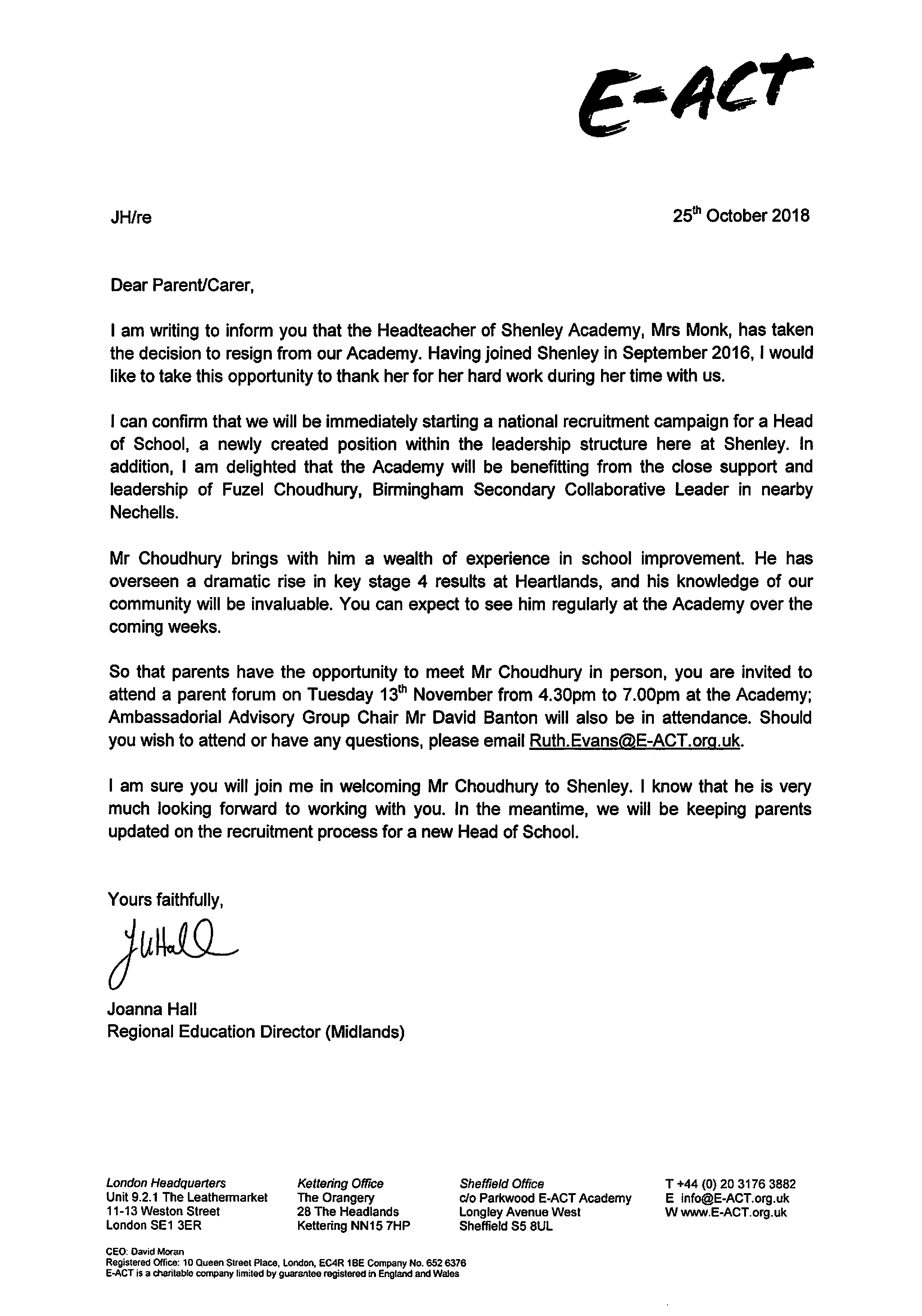 e-act letter